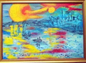 Romantica gita nel tramonto Olio su pannello di faesite - Collezione Veronese Anna Maria
