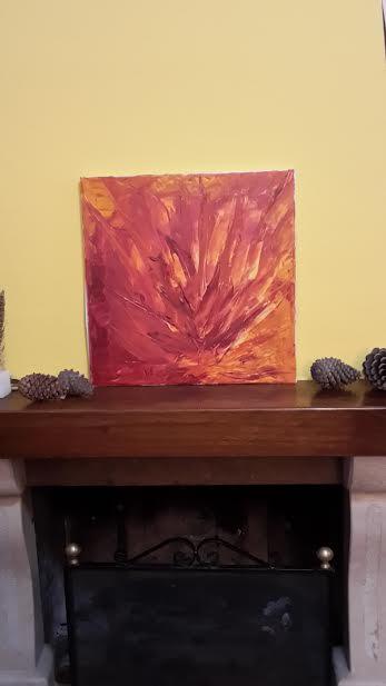 Lingue di Fuoco - olio su tela - 40x40 cm - dicembre 2013 - Collezione Colombi Fonta
