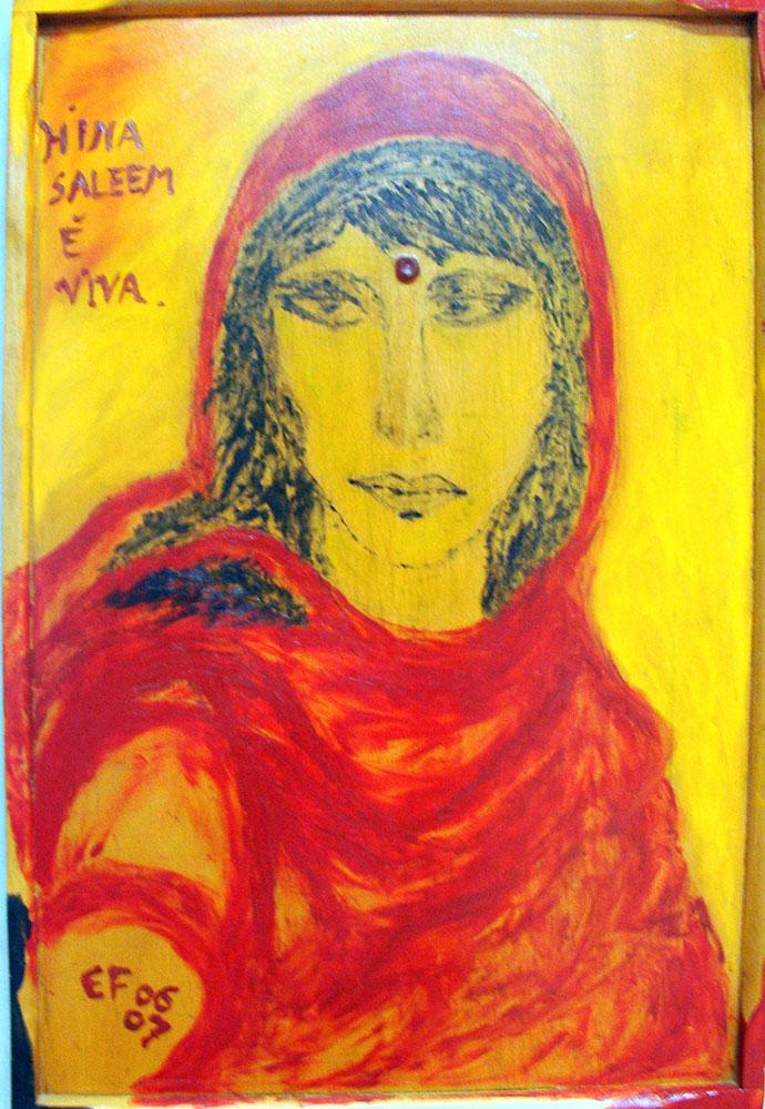 Hina Saleem - tecnica mista su tavola 40x60cm