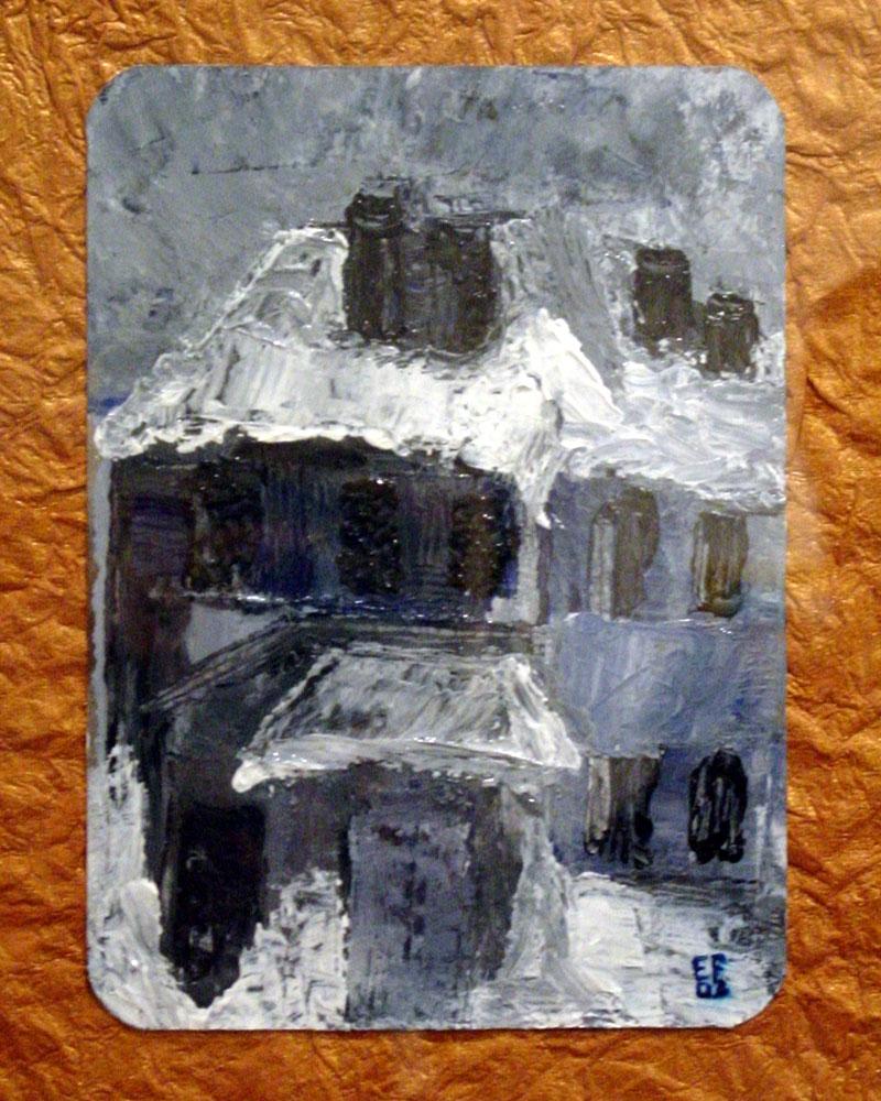 Natale grigio...neve e paura - olio e acrilici su cartoncino - 17x23cm