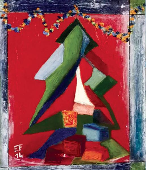 Albero con donna - Natale 2014 olio su pannello cm.30x25