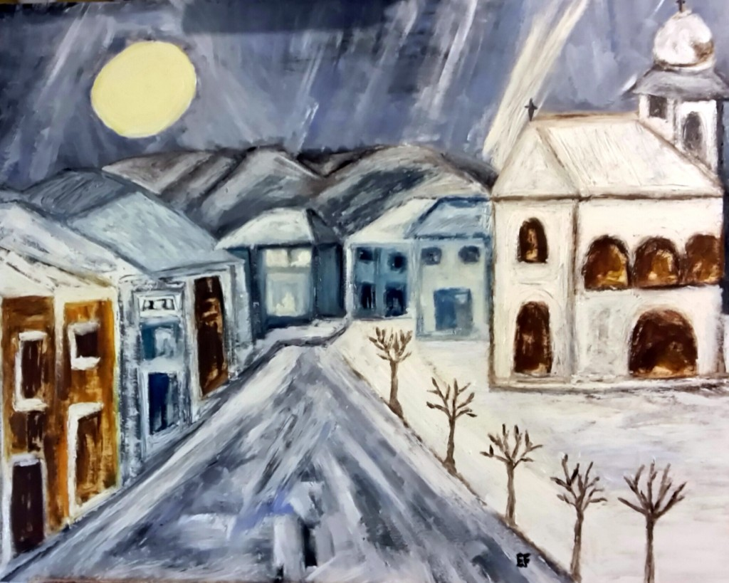 Sole , grigio e gelo - olio su tavola 54 x44cm - Natale 2015