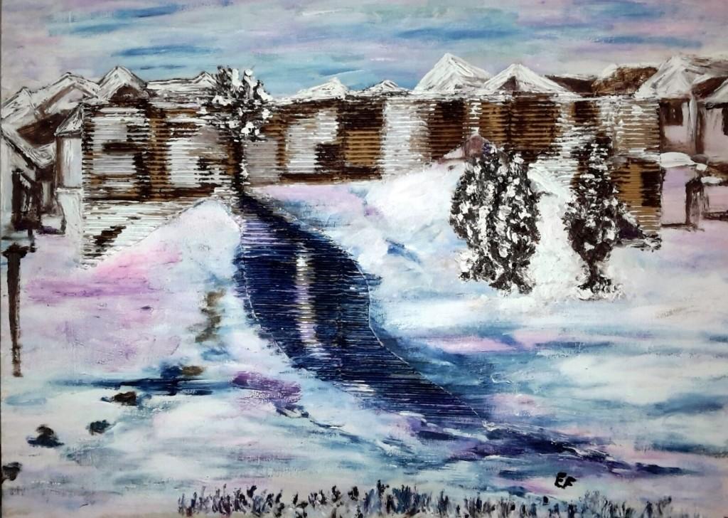 """""""Ghiaccio Rosa-Azzurro"""" Novembre 2016 olio su pannello di legno cm.53x40"""