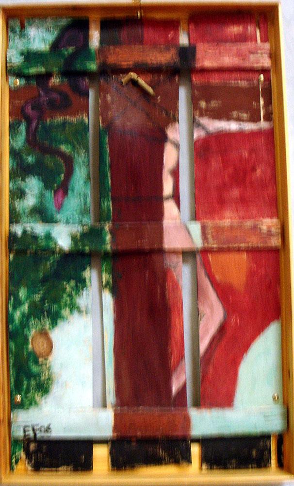 """""""Abbandonato e libero"""" 2006 tecnica mista su fondo di cassetta"""