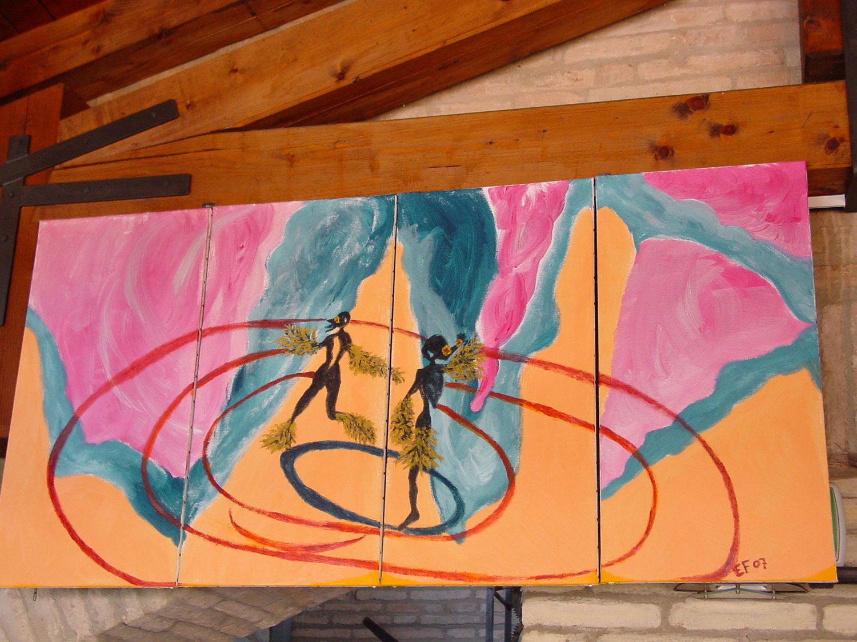 Danze e colori Quadrittico tele 40x82cm - colori acrilici