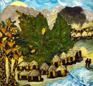 Il villaggio - Tecnica mista su tela 35x45cm