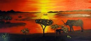 Romantica Africa- olio e acrilico su tela 60 x 120 (gen. 2010) - Collezione Zattoni