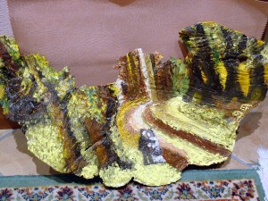amore nel bosco - olio su foglio di corteccia - collezione Ruggieri
