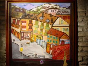 Il Natale visto dalla torre eseguito nel dicembre 2005 durante la permanenza alla torre in cui tenevo la mostra colori emozioni - Collezione del comune di San Polo D'Enza - Reggio Emilia