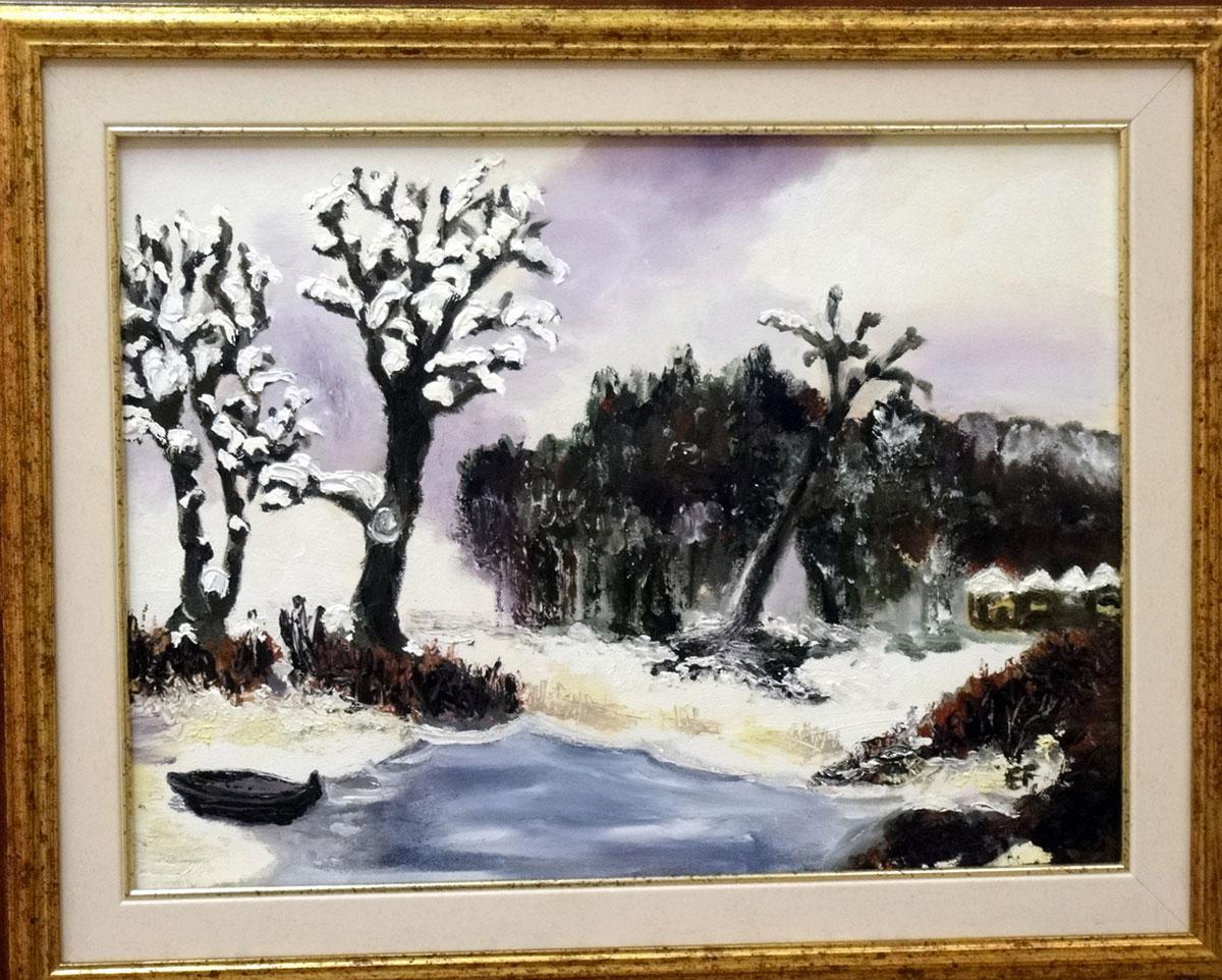 Neve sulla pineta - olio e acrilico su tela 30x40cm - Natale 2010