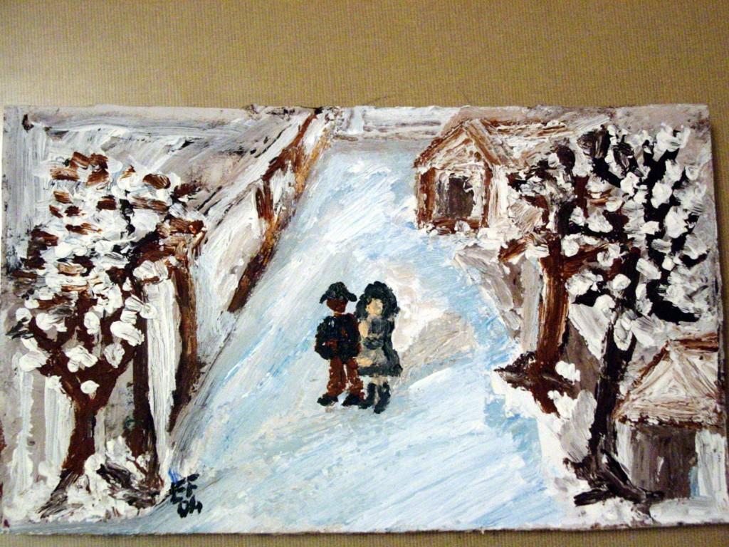 La calma nella neve - olio su cartoncino - 22x12cm