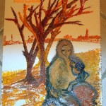 Natale 2007 Darfur.Maternità - Olio su tela stropicciata 30x43cm