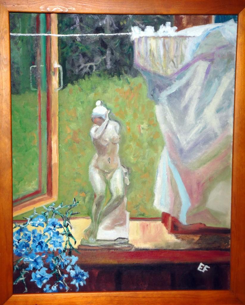 Finestra con fiori e tenda - olio su tela 40x 50cm - 2013