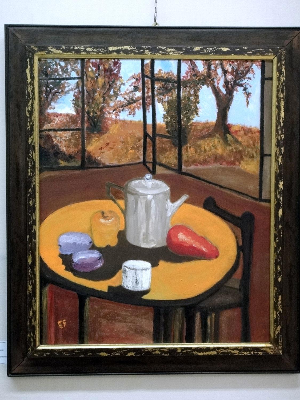 Dalla finestra: autunno in giardino - olio e acrilico su cartone telato - 60x50 cm