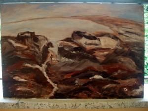 Roccia dell'orso olio e acrilici su pannello di compensato 39x59
