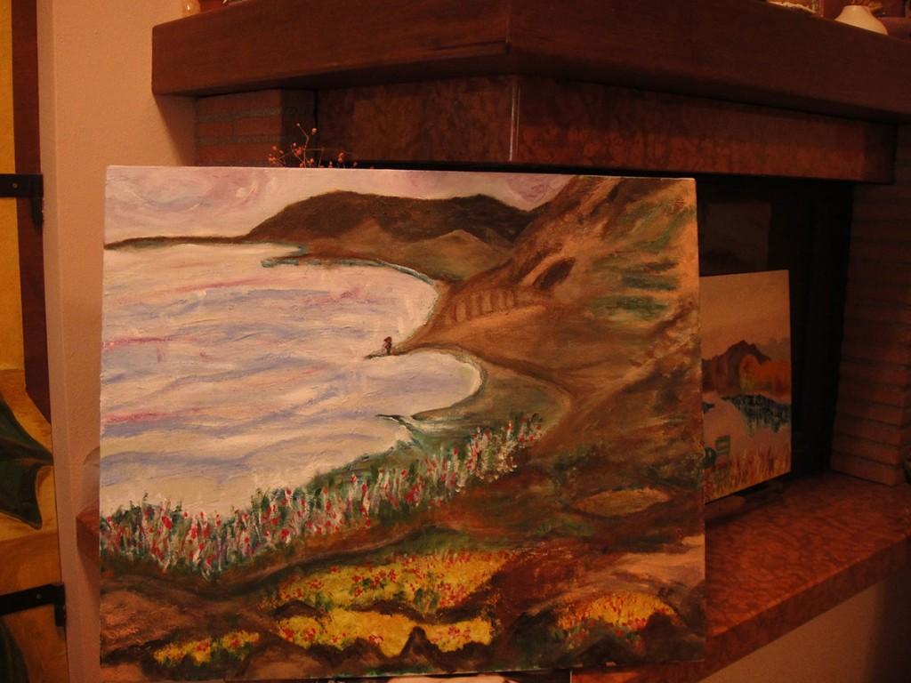 Amore sul lago - 65x54cm olio su tela