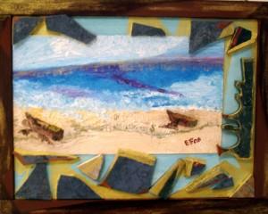 Viaggio nei ricordi... le forme...i colori tecnica mista con applicazioni su pannello di legno incorniciato 46x36cm