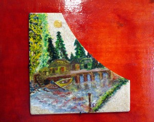 Paesaggio - Tecnica mista su piastrella incollata su pannello di legno