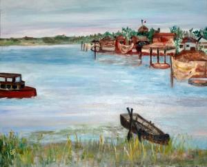 Capanno Garibaldi e dintorni - olio e acrilico su tela 65 x54cm