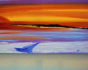 colorato tramonto nelle valli