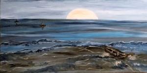 Barche nel tramonto,preludio - 80x40cm olio e acrilici su tela