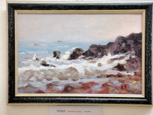 Tempesta e scogli - olio su tela 22x33cm