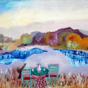 L'incontro - olio su tela 35x 50 - 2013 (copertina del romanzo di Marisa Giaroli - Canoni e Contrappunti - Corsiero Editore) - Collezione Giaroli