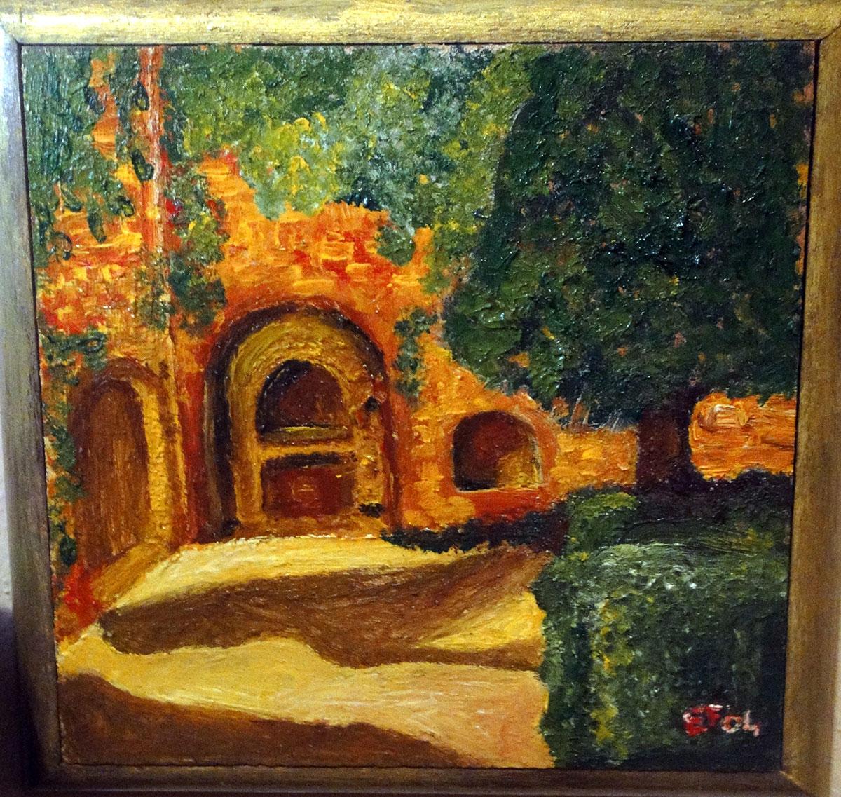 Angolo del borgo vecchio - su tavoletta di legno - 20x20cm - tecnica mista