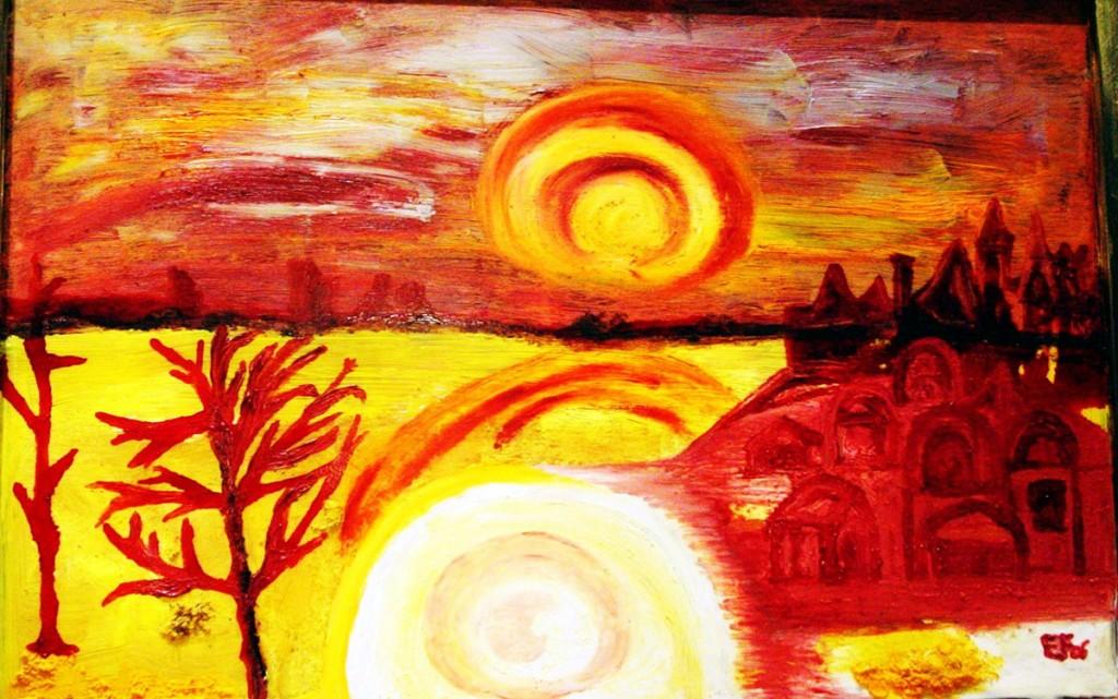 Gilallo rosso e dintorni - tecnica mista su vetro - 95 x 67cm