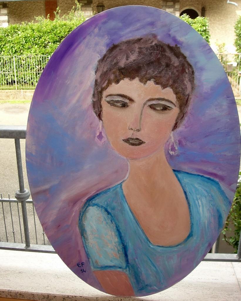 ''Sognando nel viola '' - olio su cartone telato ovale 50x70cm