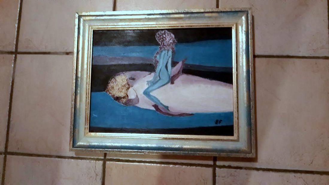 Sirena del pesce foglia - tecnica mista su tela - 40x 30cm