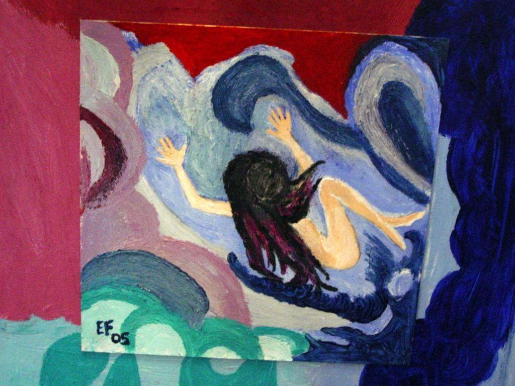Giochi di sirena - olio su cartoncino applicato su pannello di compensato - 35 x 35cm