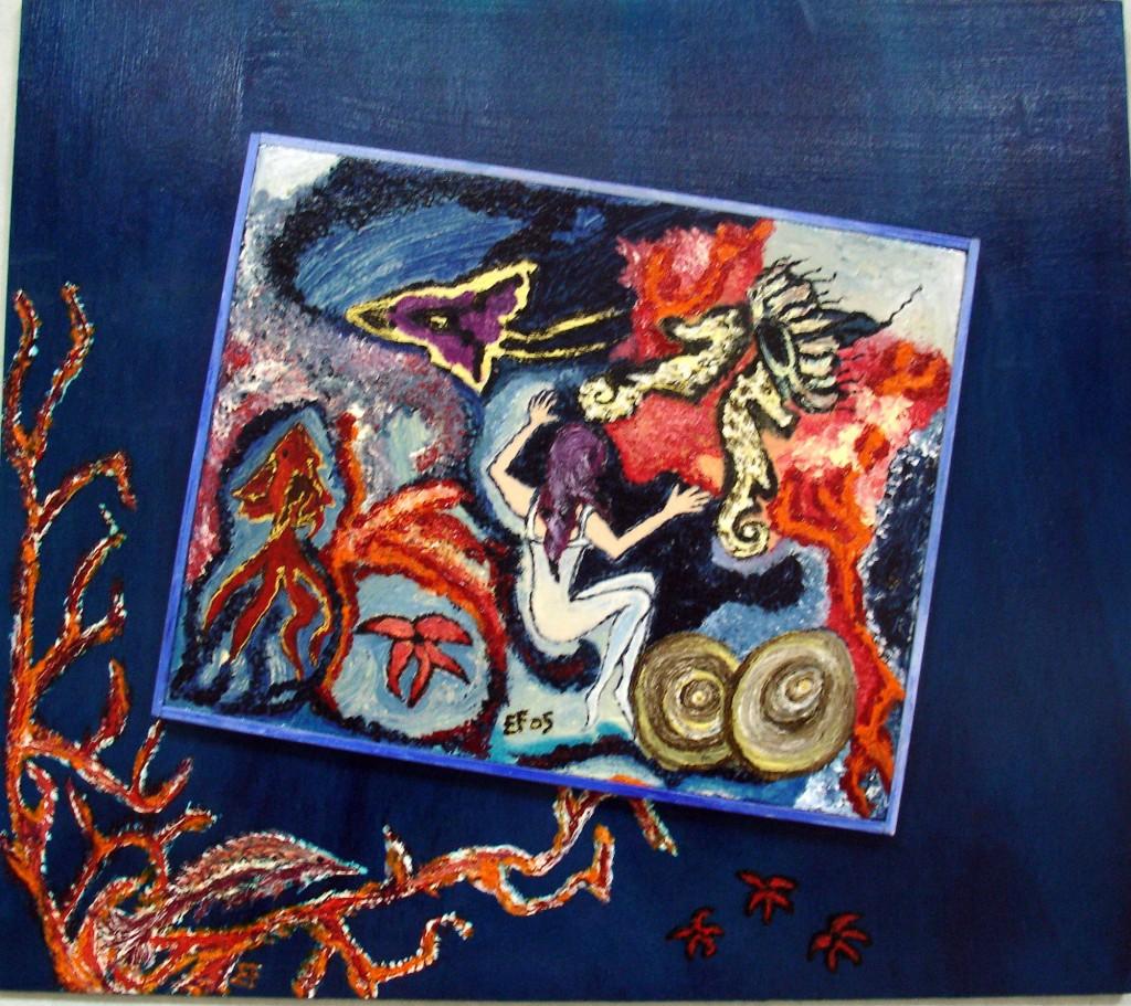 Mari. Sirena e gli altri - 60 x 53cm - tecnica mista su pannello di legno applicato su pannello di compensato