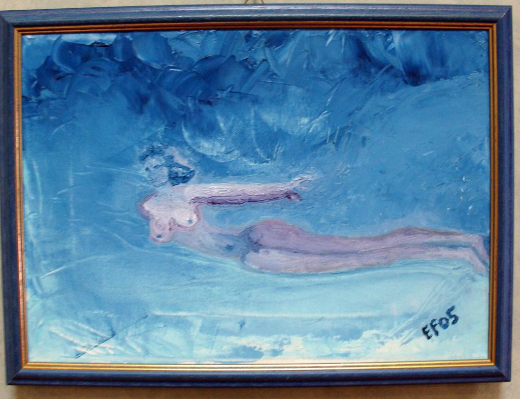 Misteriosa fra i flutti - olio su tela 25x35cm