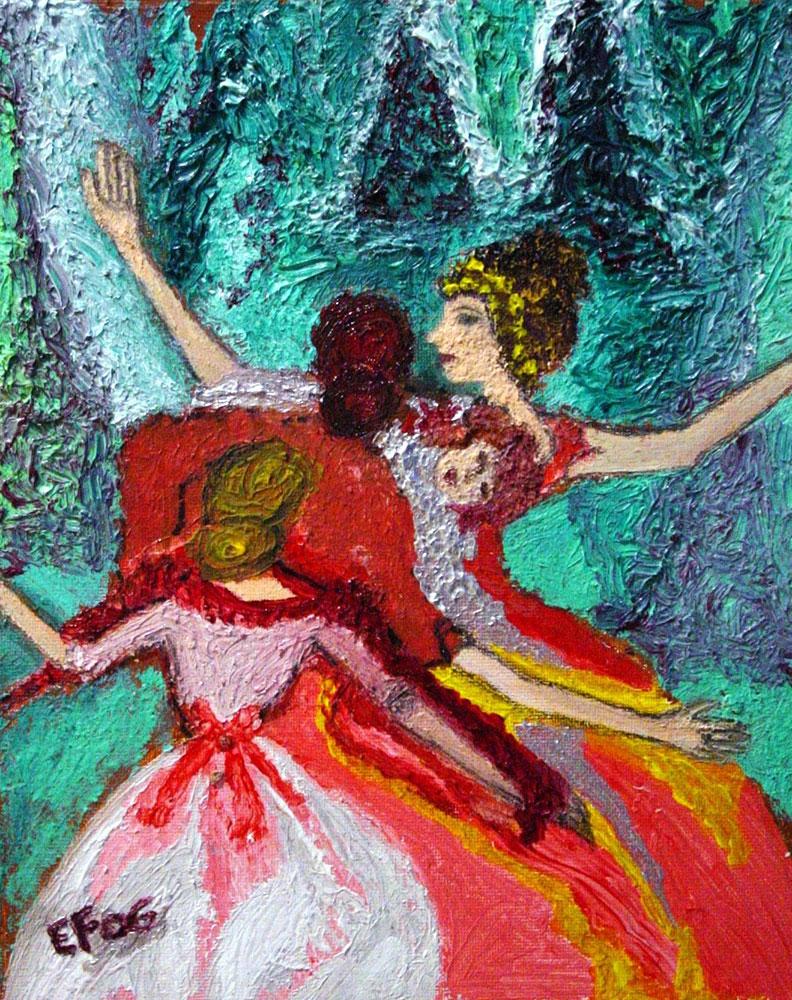 Sirene silvestri, la danza del gelo - tecnica mista su tavoletta applicata su pannello - 20 x 25cm
