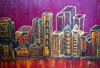 ''Inquietante notte cittadina'' - olio su tela 50x70