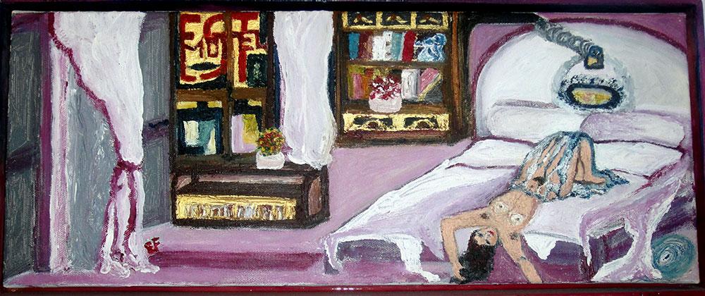 Interno 15 - tecnica mista su tela 20 x 50 cm - (2005)