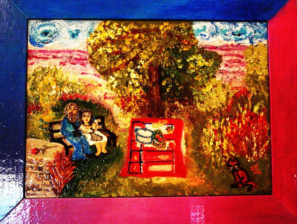L'amore negli anni che verranno Tecnica mista su foglio di legno con cornice dipinta insieme al quadro 35x44 cm - Collezione Fonta Colombi