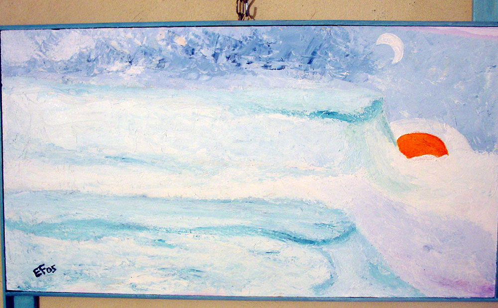 The kingdom of the snow - olio su pannello di legno compensato - agosto 2005 - 52x30 cm
